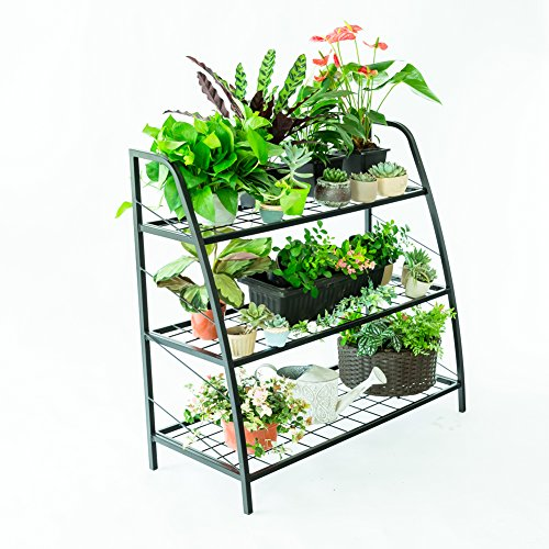 C-Hopetree Plant Stand Tiered Plant Shelf Holder for Indoor Outdoor Use, Metal Frame, Black, 3 Tier by C-Hopetree