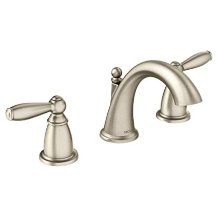 Incredible Moen T6620Bn Brantford Two Handle Low Arc Widespread Bathroom Faucet Without Valve Brushed Nickel Interior Design Ideas Gresisoteloinfo