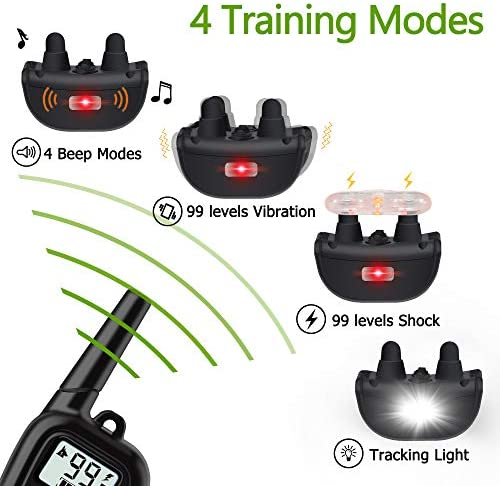 WILLBEST 2020 Upgraded Dog Training Collar Waterproof and Rechargeable Range 1650 Ft Shock Collar with Beep,Vibration,Shock,Tracking Light Modes