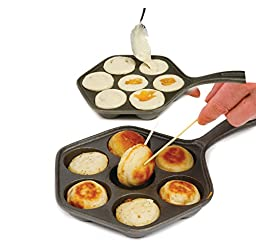 Norpro 3114 6.5-Inch Cast Iron Danish Aebleskiver Pan Makes