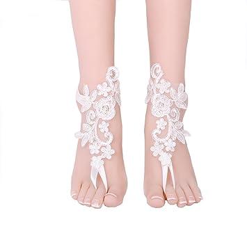 Damen Wedding Lace Barfuß Sandalen Beach Wedding Fußkette
