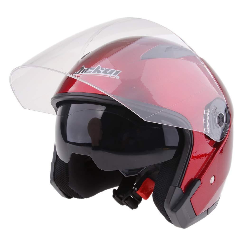 Gl/änzendes Schwarz L perfk Motorradhelm Integralhelm Rollerhelm Voll Gesicht Helm Sturzhelm Doppelvisier Sonnenblende f/ür Damen Herren