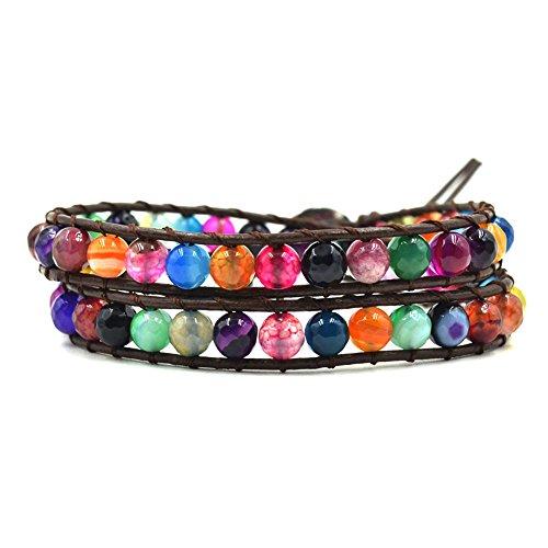 Rainbow Agate Stone Beaded Leather Wrap Bracelet,2 Wraps, 6MM/Beads