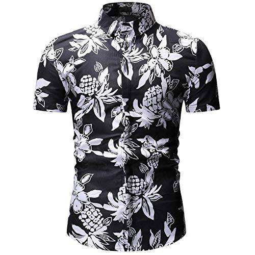 Mens Summer Beach Hawaiian Shirt 2019 Short Sleeve Plus Floral Shirts European Size Men Camisas,YS23 Black,XXL