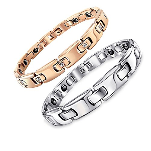 """RUINUO """"Be Mind Series"""" Titanium Stainless Steel """"Fleeting Time"""" Magnetic Therapy Bracelet for Lover Couple"""