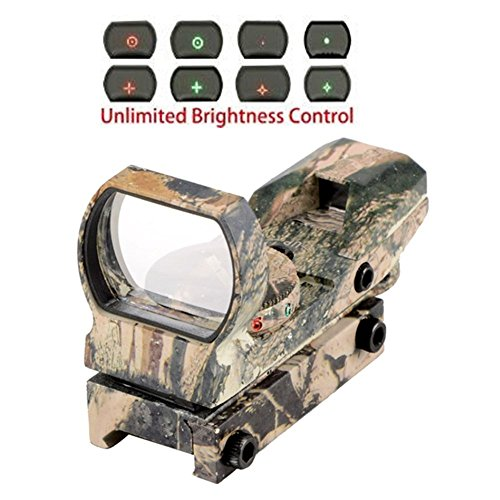 Wenxy 1x22x33 4 Reticles Red and Green Reflex Sight Scope with 20mm Rail - Red Dot Bow Sights