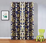 Fancy Linen 2 Panel Curtain Set With Grommet Kids/Teen Army Camouflage Beige Taupe Blue New