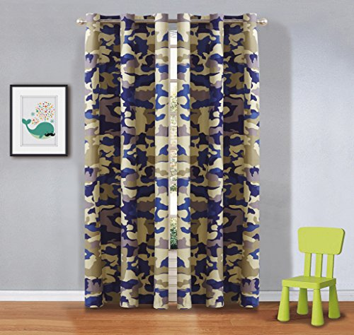 Fancy Linen 2 Panel Curtain Set With Grommet Kids/Teen Army Camouflage Beige Taupe Blue New (New Camo Taupe)
