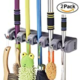 Mop Broom Holder, RockBirds T56 Multipurpose Wall Mounted Organizer, Ideal Broom Hanger for Kitchen, Garage, Warehouse(5 Position 6 Hooks) …
