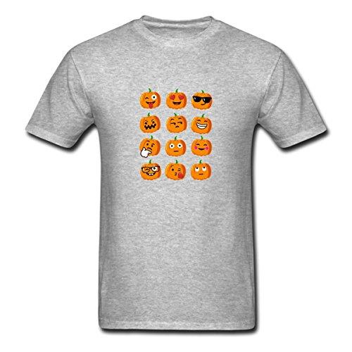 Renting Pumpkin Emoji Faces Tshirt Emoji Halloween Costume t Shirt For Men Cute Cotton Tee Short Sleeve Size L Gray