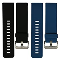 bayite Accessories Silicone Watch Bands for Fitbit Blaze Black and Blue, Small 5.5 - 6.7 inches Pack of 2