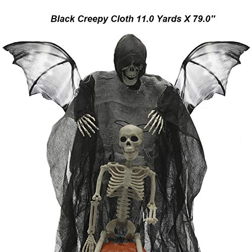 Halloween Black Creepy Cloth 11.0 Yards X 79.0'' Spooky Halloween Decorations for Haunted Houses Party Doorways Outdoors Giant Decorative Entryways Wall Doors Indoor Scary Cloth Party Supplies -