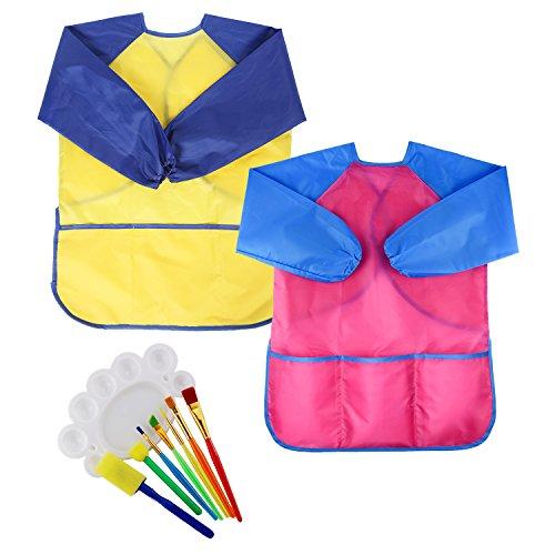 (M SANMERSEN Art Smock for Kids, 2 Pack Art Paint Brushes Set Paint Tray Toys 3-7 Year Old Boys Girls)