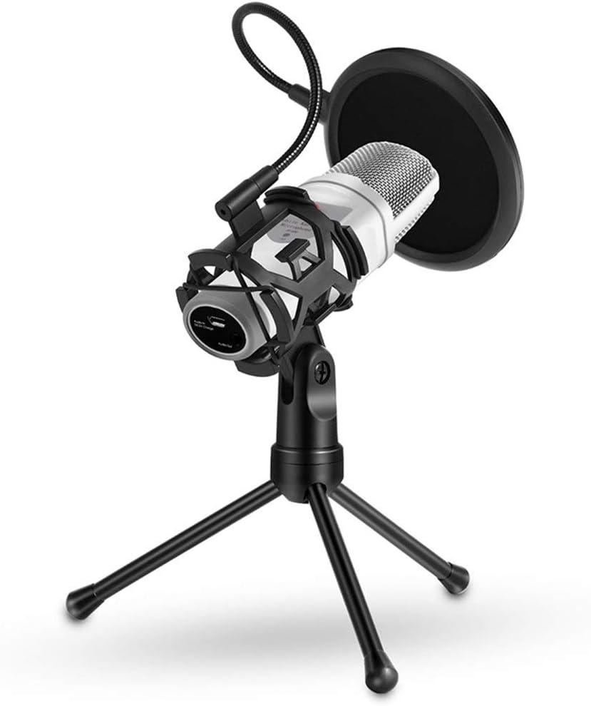 Foldable Microphone Tripod Stand Desktop Mic Holder Shock Mount Pop Filter for Online Broadcasting Chatting Singing