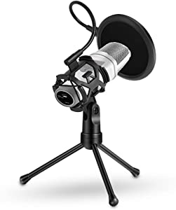 Foldable Microphone Tripod Stand Desktop Mic Holder Shock Mount Pop Filter for Online Broadcasting Chatting Singing
