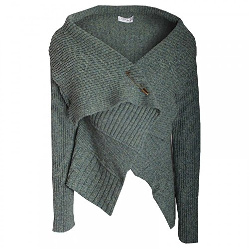 La Confidence Long Sleeve Large Collar Knit Cardigan Olive