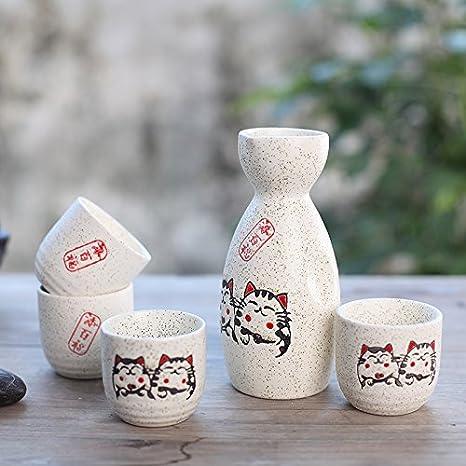 Conjunto Tradicional Japon/és con 1 Botella de Sake y 4 Sake Cups de Cer/ámica San Valent/ín Estilo Japon/és Mejor Regalo de Cumplea/ños Navidad Panbado Juego de Sake de 5 Piezas de Gres