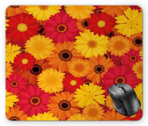 BGLKCS Gerber Daisy Summer Bloom Love Pattern with Continuous Nested Flower Petals in Warm Tones, Multicolor Mouse Pad 8.6 X 7.1 in