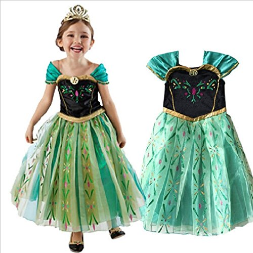 Anna Costume Disney Frozen Inspired Coronation Dress Girls Kid Halloween 3T-14 (3T/4T (100cm))