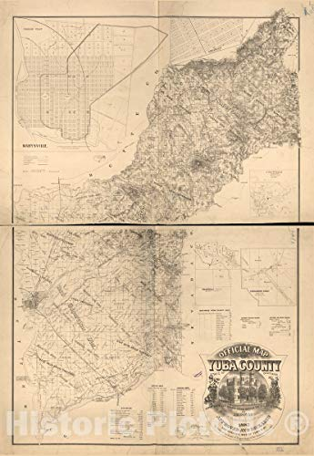 Historic 1887 Map - Official map of Yuba County, State of California : compiled and Drawn from Official recs. and Actual surveys 44in x ()