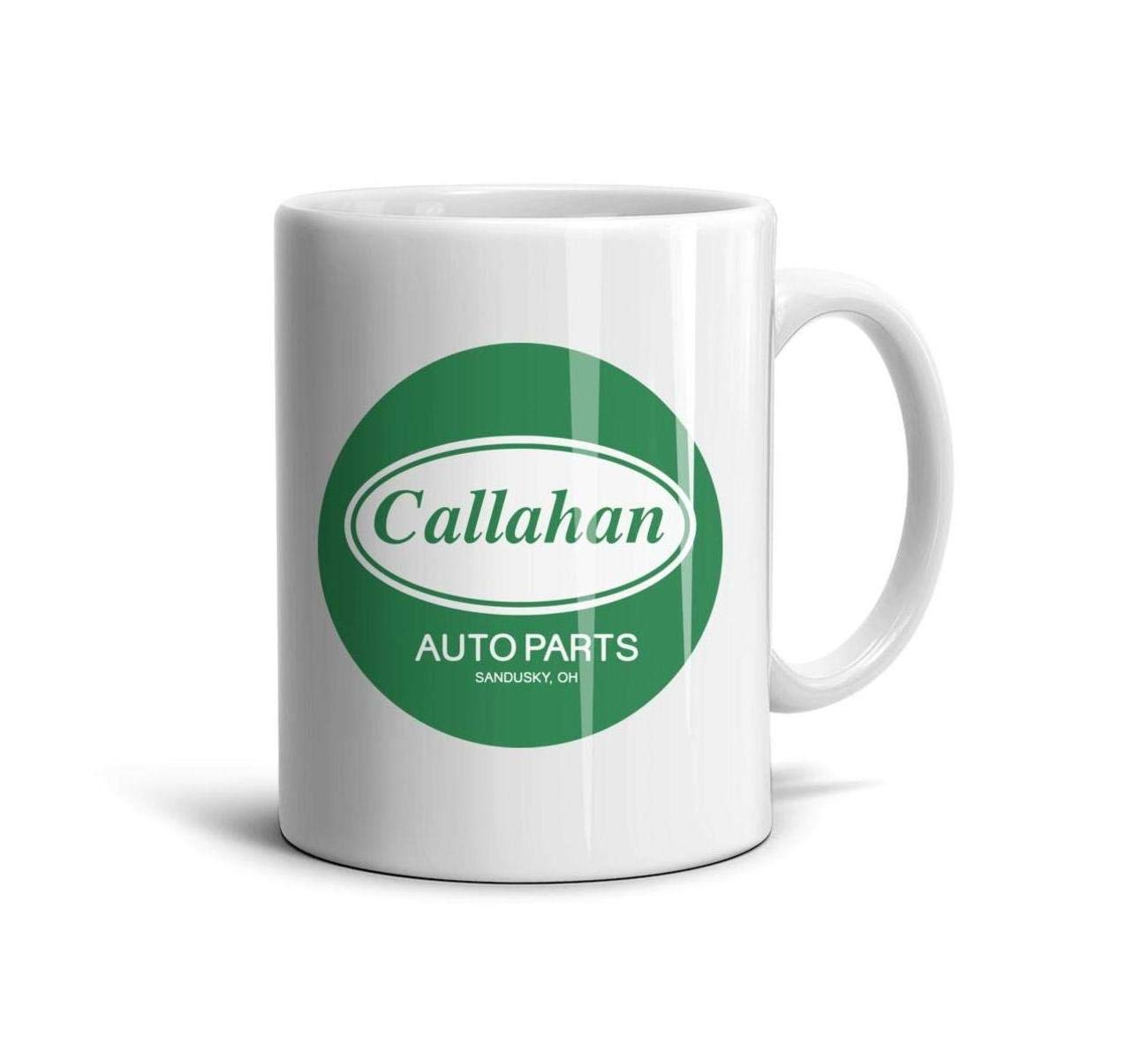 White Ceramic Callahan-Funny-Auto-Parts-Green-White-pin-Logo-Sign-Symbol-Coffee Mug Tea Mugs Teacup 11 oz 330ml Cup Printed Customized Personalized Funny Polished Glossy Gift for Home Office
