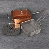 OKOKMALL US--Copper Square Round Frying Pan Induction Chef Glass Lid Fry Basket Steam Rack