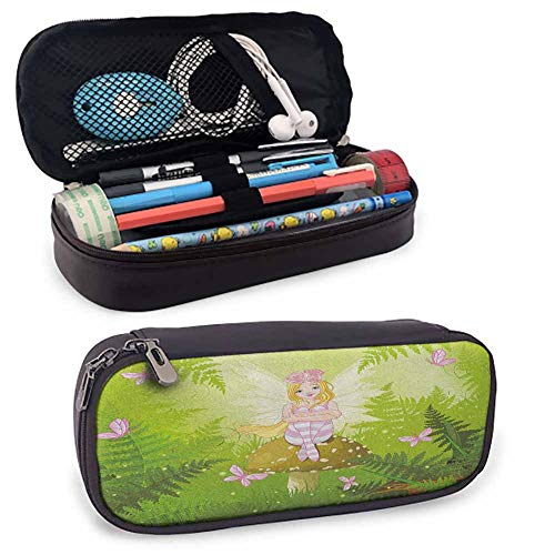 Nursery Coin Pocket Magic Fairy Girl with Floral Hairstyle in Green Forest Pink Butterflies Zipper Pen Case W3.5xL7.9 Green Pale Pink Brown