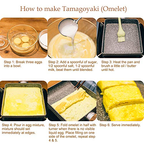 "ROCKURWOK Omelette Pan, Tamagoyaki Japanese Egg Pan, 7"" x 6"", Nonstick Retangle Small Frying Pan, Black"