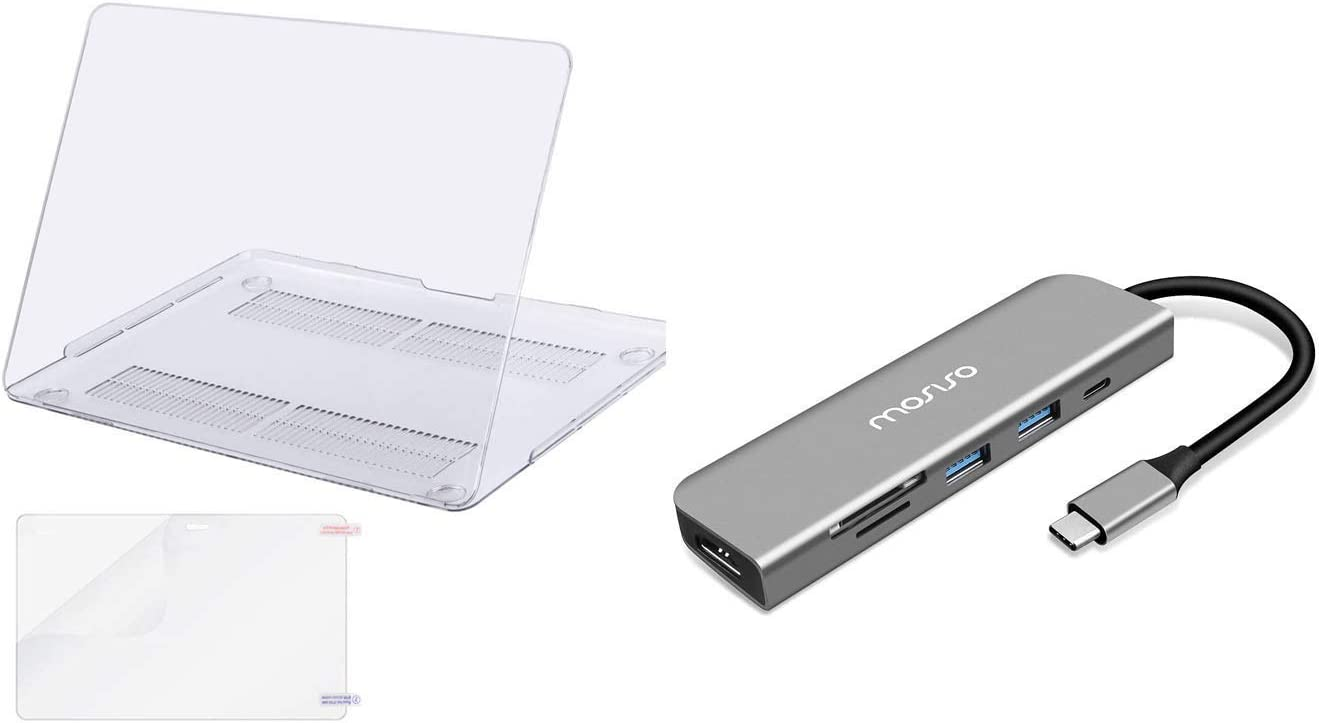 MOSISO Plastic Hard Shell Case&Screen Protector Compatible with MacBook Pro 13 inch 2016-2019 & USB-C Hub 6in1 Type-C Multiport Adapter