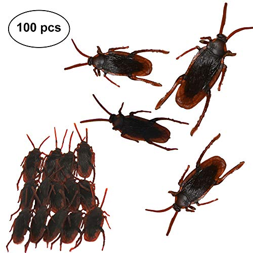 Fake Cockroaches Realistic Prank Roaches for Joke Trick Halloween April Fool 's Day Party Look Real Toys (100 pcs) -