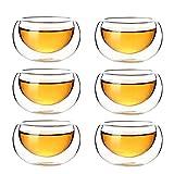 Lida 6pcs Heat-Resisting Double-wall Xiao Pin Glass Tea Cup Oolong Tea Cup