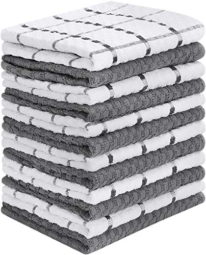 Utopia Towels Kitchen Towels (12 Pack, 15 x 25 Inch) Cotton - Machine Washable - Extra Soft Set in Grey White Dobby Weave Dish Towels, Tea Towels, Bar Towels