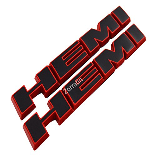 (2 pieces) HEMI Side Fender Emblem Badge Plate Decal with Sticker for Dodge Charger V8 RT Ram 1500 Challenger[slant red trim black] (Black Red Emblem)