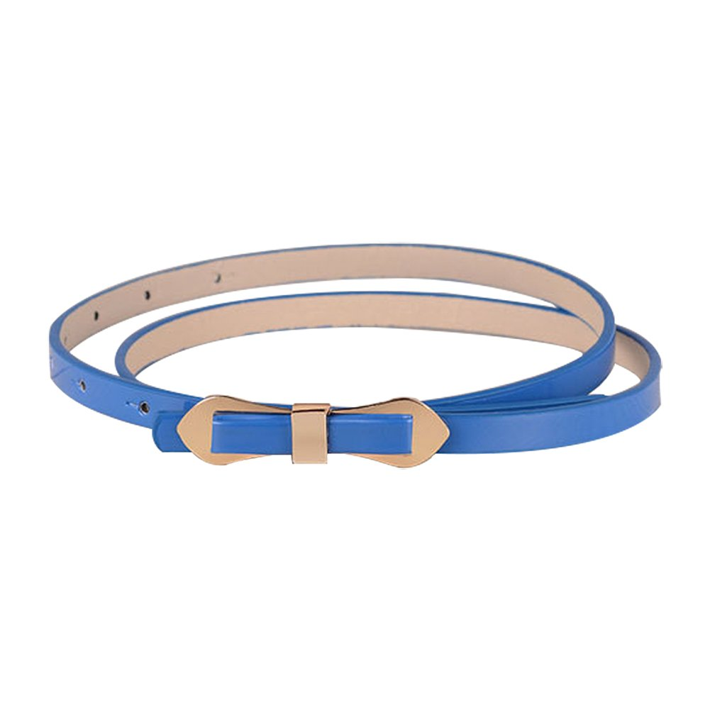 TOOGOO(R) Royal Blue Cute Slender Candy Color Bowknot Layered Waist Slender Belt For Women 102*1cm