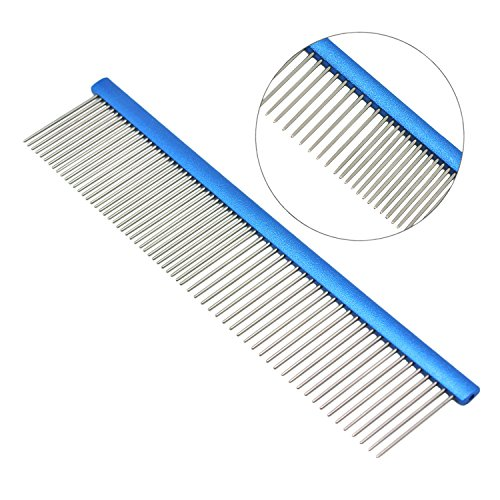 YOOHUG Dog Comb Stainless Steel Pet Grooming Combs for Dogs and Cats, Professional Shedding Comb Pet Grooming Tools for All Hair Types, Royal Blue