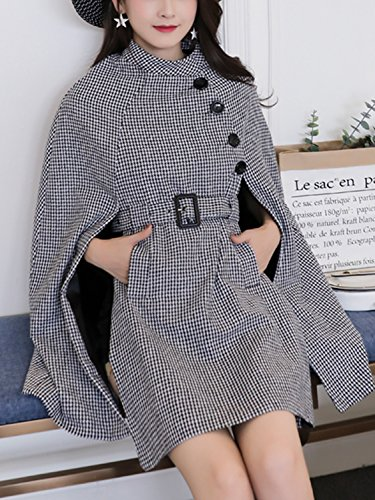 Black Houndstooth Belted Waist Cape Coat with Side Pockets S by Clothink (Image #2)