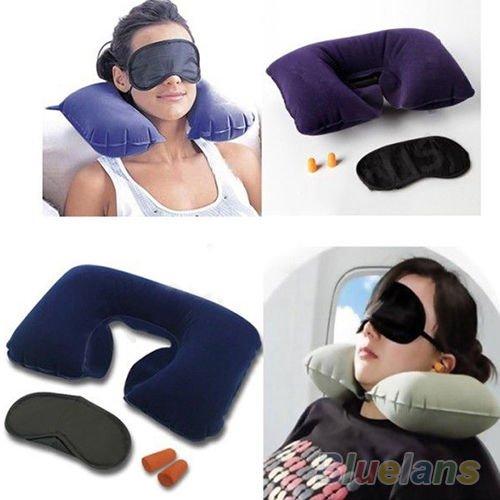 Amazzang New Inflatable Flight Pillow Neck U Rest Air Cushion  Eye Mask   Earplug
