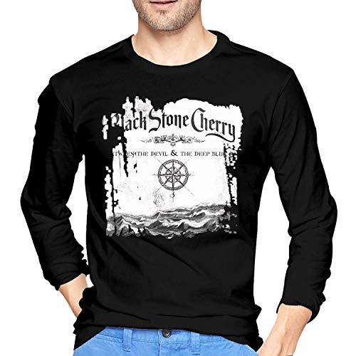 Cherry Between The Devil & The Deep Blue Sea Men's Long Sleeve T-Shirts,X-Large,Black ()
