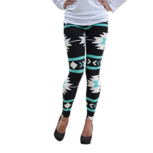fc301fdebb1c1 Women Lady Skinny Geometric Print Stretchy Jegging Pants Slim Leggings Plus  Size (Green, S