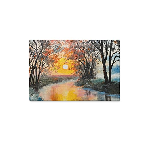 InterestPrint Sunrise Fall Autumn Forest Near the Stream Canvas Wall Art Print Painting Hanging Artwork Stretched and Gallery Canvas for Living Room Bedroom Dining Room Decorations 18 X 12 Inches