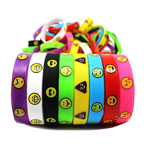 Joyin Toy 48 Pieces Emoji Emotion Silicone Wristband Bracele