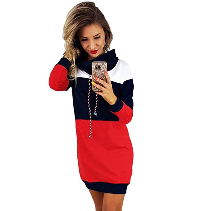 FORH Damen langarm Sweatshirt Kleid Casual Patchwork Farbe Softshell ...