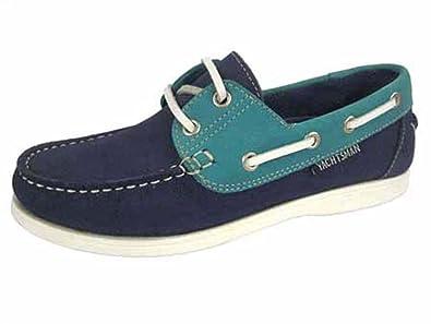 HEAVENLY FEET Damen Segler Marineblau Grün Deck Schuhe, Blau - Navy - Größe: 35.5