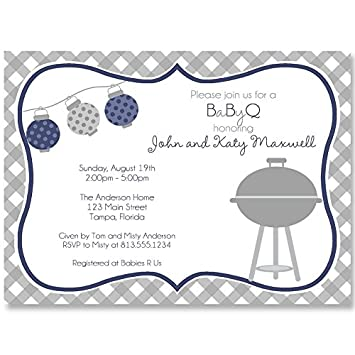 amazon com baby q shower invitations barbecue sprinkle boy