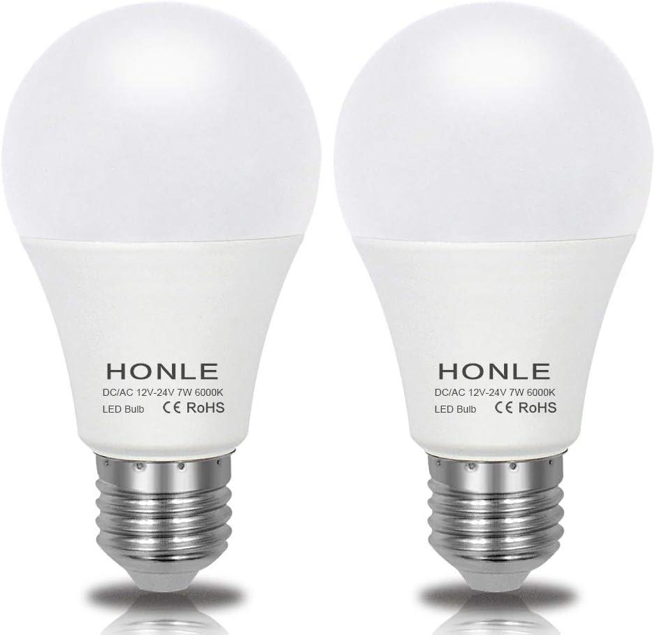 E26 E27 LED Light Bulbs 12V 24V Low Voltage 7W A19 Daylight White 6000k Standard Edison Base 60w Halogen Bulb Equivalent DC/AC for Rv, Off Grid Solar Panel Project Lighting, Garden Landscape Pack of 2