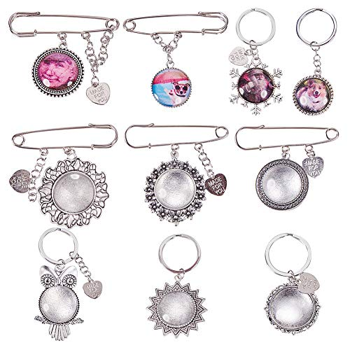 - SUNNYCLUE 1 Set Wedding Boutonniere Bouquet Charm Pin Brooch Photo Charms & Keychain Keyring Making Kit - DIY Make 5pcs Cabochon Photo Charms & 5pcs Cabochon Keychains