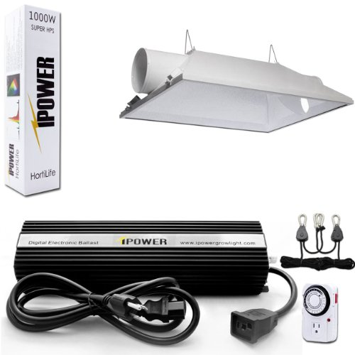 iPower 1000 Watt HPS Digital Dimmable Grow Light System Kits Air Cooled Reflector Hood Set