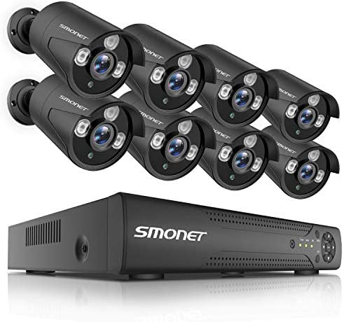 2019 New Security Camera System Outdoor,SMONET 8CH HD Home Camera System 1TB Hard Drive ,8pcs 720P Security Cameras,Video Surveillance System for Easy Remote View, DVR Kits with Super Night Vision