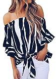 Shawhuwa Womens Wide Stripe Off Shoulder Bell Sleeve Casual Chiffon Tops Black L