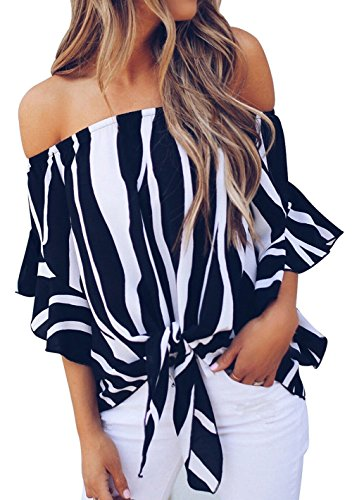 (Shawhuwa Womens Wide Stripe Off Shoulder Bell Sleeve Casual Chiffon Tops Black S)